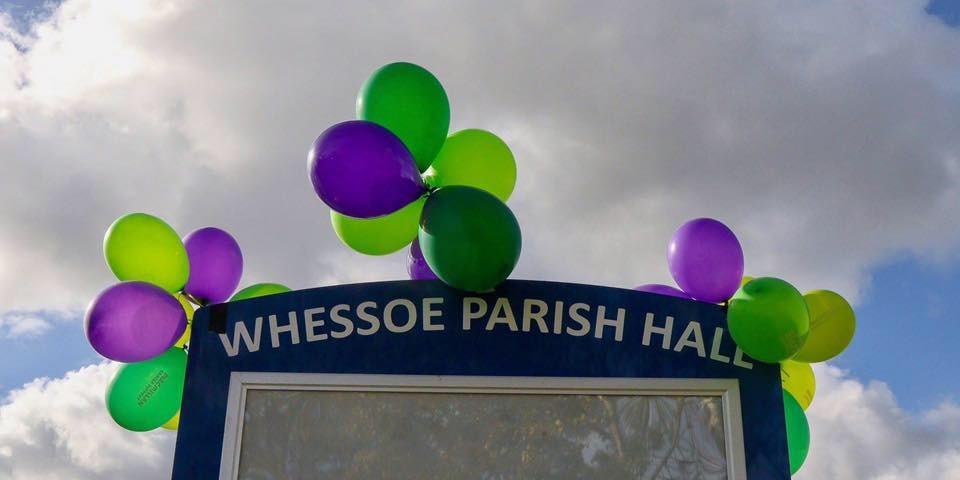 whessoe Parish Hall Sign with balloons